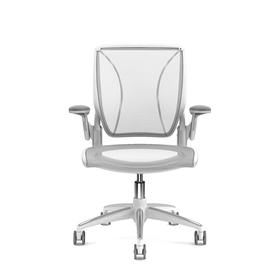 Pinstripe Mesh White World Task Chair, Adjustable Arms, White Frame